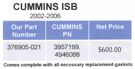 Cummins ISB Part Numbers