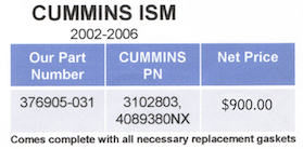 Cummins ISM Part Numbers
