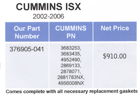Cummins ISX Part Numbers